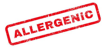 allergenic: Allergenic Text rubber seal stamp watermark. Caption inside rectangular banner with grunge design and dirty texture. Slanted vector red ink sign on a white background. Illustration