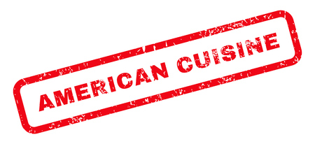 american cuisine: American Cuisine Text rubber seal stamp watermark. Caption inside rectangular shape with grunge design and scratched texture. Slanted vector red ink sign on a white background. Illustration