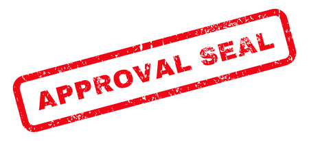 seal of approval: Approval Seal Text rubber seal stamp watermark. Tag inside rectangular banner with grunge design and dirty texture. Slanted vector red ink sticker on a white background. Illustration