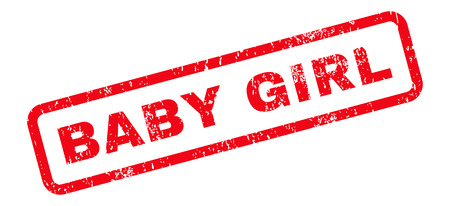 dirty girl: Baby Girl Text rubber seal stamp watermark. Caption inside rectangular banner with grunge design and scratched texture. Slanted vector red ink emblem on a white background.