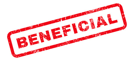 beneficial: Beneficial Text rubber seal stamp watermark. Caption inside rectangular shape with grunge design and dirty texture. Slanted vector red ink sign on a white background.