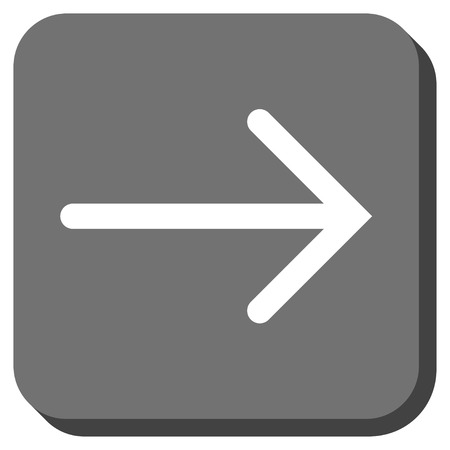 propel: Arrow Right glyph icon. Image style is a flat icon symbol in a rounded square button, white and gray colors.