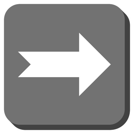 propel: Arrow Right glyph icon. Image style is a flat icon symbol on a rounded square button, white and gray colors. Stock Photo
