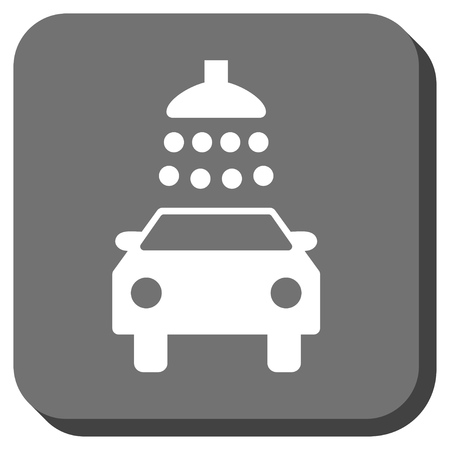 Car Shower glyph icon. Image style is a flat icon symbol inside a rounded square button, white and gray colors.