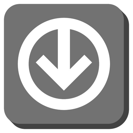 vertical orientation: Direction Down glyph icon. Image style is a flat icon symbol in a rounded square button, white and gray colors. Stock Photo