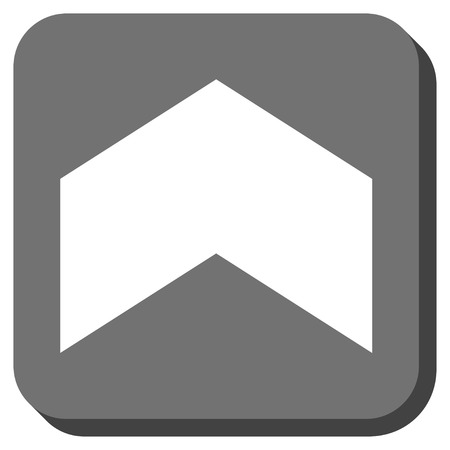 vertical orientation: Direction Up glyph icon. Image style is a flat icon symbol inside a rounded square button, white and gray colors. Stock Photo