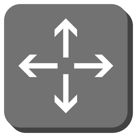 center position: Expand Arrows glyph icon. Image style is a flat icon symbol on a rounded square button, white and gray colors. Stock Photo