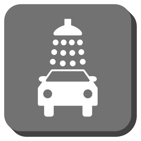 sterilize: Car Wash glyph icon. Image style is a flat icon symbol in a rounded square button, white and gray colors. Stock Photo
