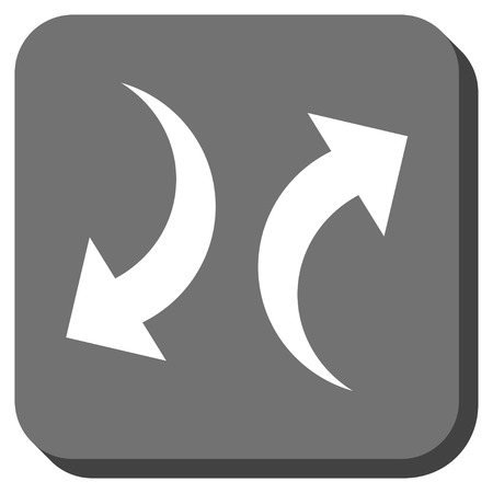 Exchange Arrows glyph icon. Image style is a flat icon symbol inside a rounded square button, white and gray colors.