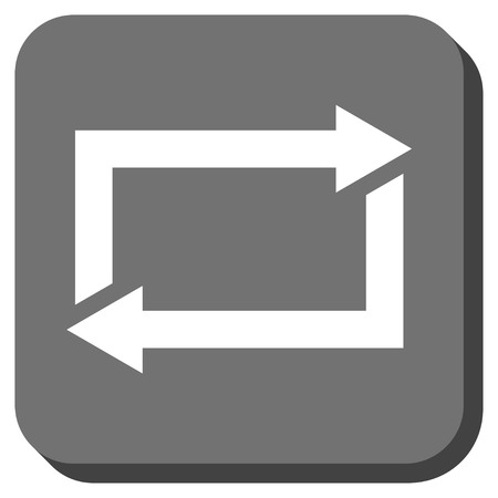 sync: Exchange Arrows glyph icon. Image style is a flat icon symbol in a rounded square button, white and gray colors.
