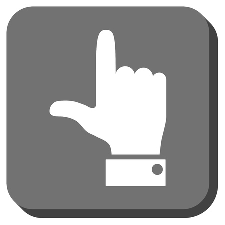 vertical orientation: Hand Pointer Up glyph icon. Image style is a flat icon symbol inside a rounded square button, white and gray colors. Stock Photo