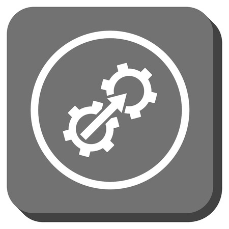 sync: Gear Integration glyph icon. Image style is a flat icon symbol on a rounded square button, white and gray colors. Stock Photo