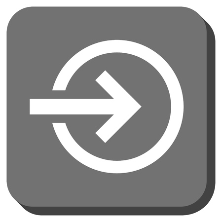 proceed: Import glyph icon. Image style is a flat icon symbol in a rounded square button, white and gray colors.