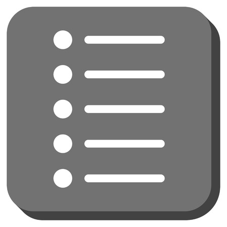 item list: Items glyph icon. Image style is a flat icon symbol in a rounded square button, white and gray colors. Stock Photo