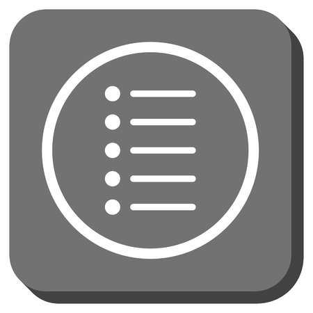 item list: Items glyph icon. Image style is a flat icon symbol inside a rounded square button, white and gray colors. Stock Photo