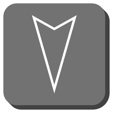 vertical orientation: Pointer Down glyph icon. Image style is a flat icon symbol in a rounded square button, white and gray colors.