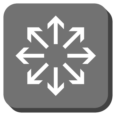 center position: Radial Arrows glyph icon. Image style is a flat icon symbol on a rounded square button, white and gray colors. Stock Photo