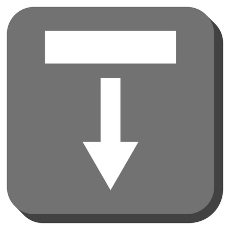vertical orientation: Pull Down glyph icon. Image style is a flat icon symbol on a rounded square button, white and gray colors.