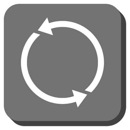 sync: Recycle glyph icon. Image style is a flat icon symbol on a rounded square button, white and gray colors.