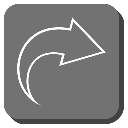 redo: Redo glyph icon. Image style is a flat icon symbol inside a rounded square button, white and gray colors.