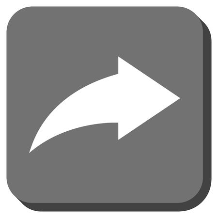 redo: Redo glyph icon. Image style is a flat icon symbol in a rounded square button, white and gray colors. Stock Photo