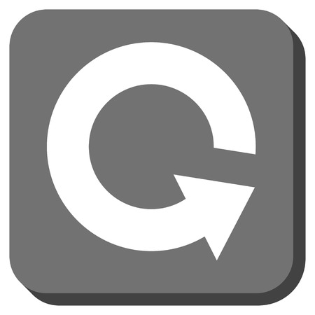 sync: Rotate CCW glyph icon. Image style is a flat icon symbol on a rounded square button, white and gray colors. Stock Photo