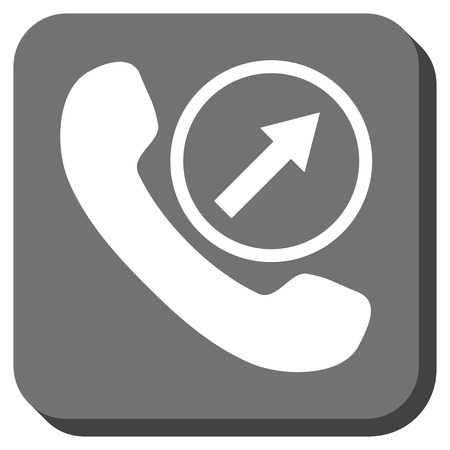 outgoing: Outgoing Call glyph icon. Image style is a flat icon symbol on a rounded square button, white and gray colors. Stock Photo