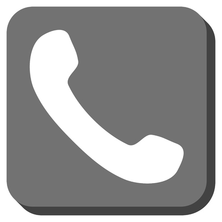 phone receiver: Phone Receiver glyph icon. Image style is a flat icon symbol in a rounded square button, white and gray colors.