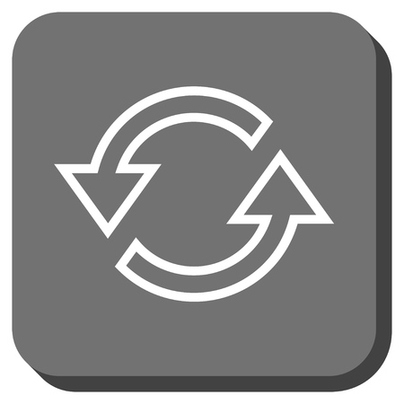 sync: Sync Arrows glyph icon. Image style is a flat icon symbol on a rounded square button, white and gray colors.