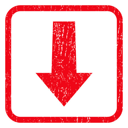 decreasing: Arrow Down rubber seal stamp watermark. Icon symbol inside rounded rectangular frame with grunge design and dirty texture. Unclean glyph red ink sign on a white background.