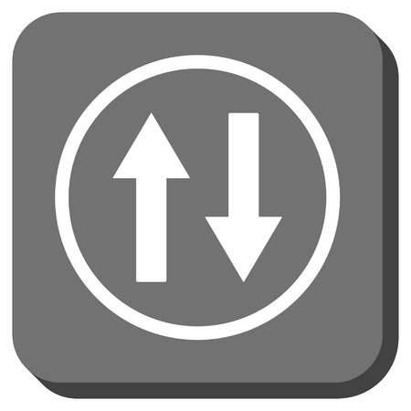 inverse: Vertical Flip Arrows glyph icon. Image style is a flat icon symbol on a rounded square button, white and gray colors. Stock Photo
