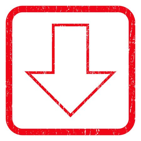 decreasing: Arrow Down rubber seal stamp watermark. Icon symbol inside rounded rectangular frame with grunge design and unclean texture. Unclean glyph red ink sign on a white background.