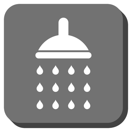 sterilize: Shower glyph icon. Image style is a flat icon symbol inside a rounded square button, white and gray colors.