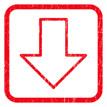 decreasing: Arrow Down rubber seal stamp watermark. Icon symbol inside rounded rectangular frame with grunge design and dirty texture. Unclean glyph red ink sticker on a white background.