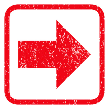 Flecha derecha de caucho marca de agua sello sello. Símbolo del icono dentro de marco rectangular redondeado con diseño de grunge y textura rayado. glifo emblema impuro tinta roja sobre un fondo blanco. Foto de archivo