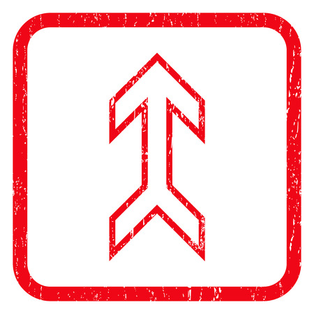 penetrating: Arrow Up rubber seal stamp watermark. Icon symbol inside rounded rectangular frame with grunge design and dust texture. Unclean glyph red ink emblem on a white background.