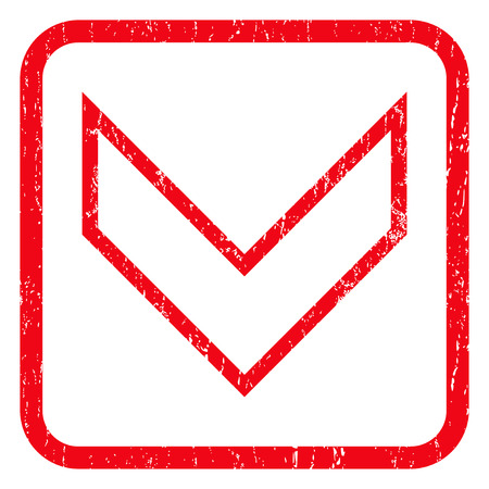 decreasing: Arrowhead Down rubber seal stamp watermark. Icon symbol inside rounded rectangular frame with grunge design and dust texture. Unclean glyph red ink sign on a white background.
