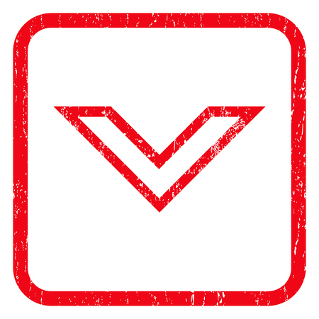 Arrowhead Down rubber seal stamp watermark. Icon symbol inside rounded rectangular frame with grunge design and dust texture. Unclean glyph red ink emblem on a white background.