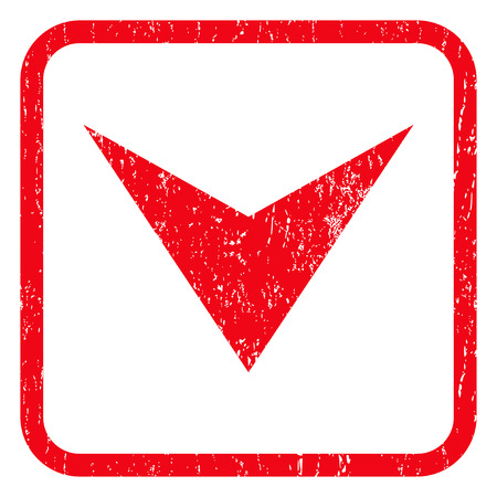 Arrowhead Down rubber seal stamp watermark. Icon symbol inside rounded rectangular frame with grunge design and dust texture. Unclean glyph red ink sign on a white background.