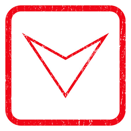 arrowhead: Arrowhead Down rubber seal stamp watermark. Icon symbol inside rounded rectangular frame with grunge design and dust texture. Unclean glyph red ink sticker on a white background.