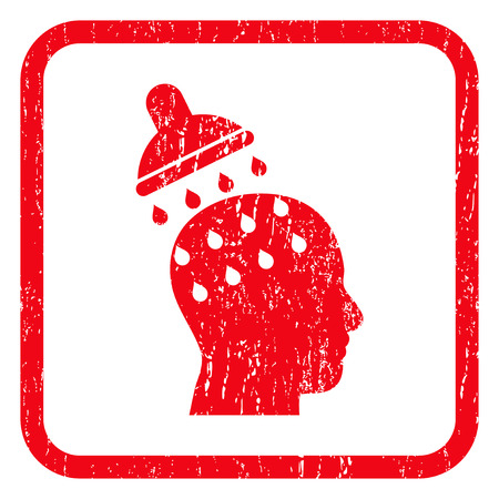 persuasion: Brain Washing rubber seal stamp watermark. Icon symbol inside rounded rectangular frame with grunge design and dirty texture. Unclean glyph red ink sticker on a white background.