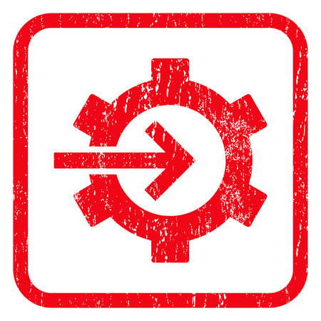 Cog Integration rubber seal stamp watermark. Icon symbol inside rounded rectangular frame with grunge design and dirty texture. Unclean glyph red ink sign on a white background.