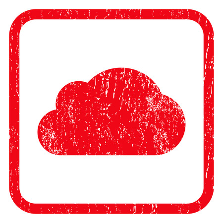 dust cloud: Cloud rubber seal stamp watermark. Icon symbol inside rounded rectangular frame with grunge design and dust texture. Unclean glyph red ink emblem on a white background.