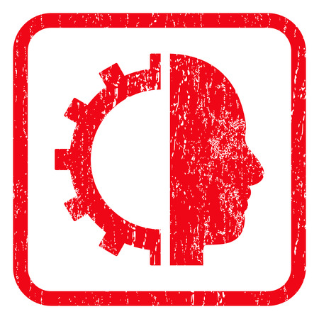 robo: Cyborg Gear rubber seal stamp watermark. Icon symbol inside rounded rectangular frame with grunge design and unclean texture. Unclean glyph red ink emblem on a white background. Stock Photo