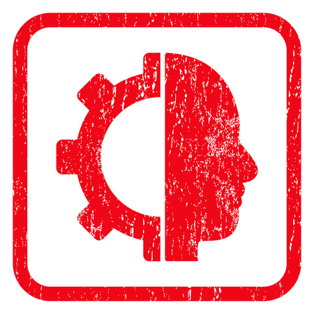 Cyborg Gear rubber seal stamp watermark. Icon symbol inside rounded rectangular frame with grunge design and dust texture. Unclean glyph red ink emblem on a white background. Stock Photo
