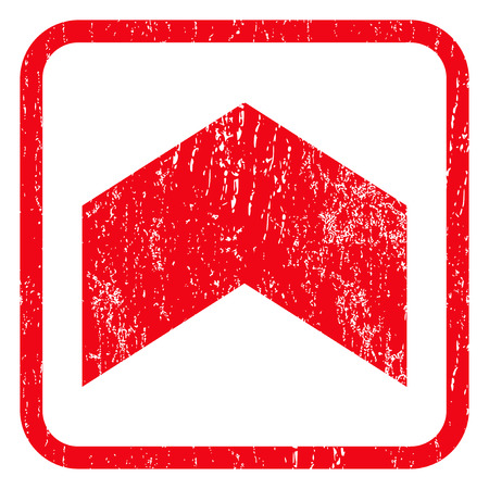 direct: Direction Up rubber seal stamp watermark. Icon symbol inside rounded rectangular frame with grunge design and dust texture. Unclean glyph red ink emblem on a white background.