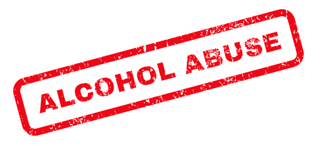 alcohol abuse: Alcohol Abuse Text rubber seal stamp watermark. Tag inside rectangular shape with grunge design and dirty texture. Slanted glyph red ink emblem on a white background.