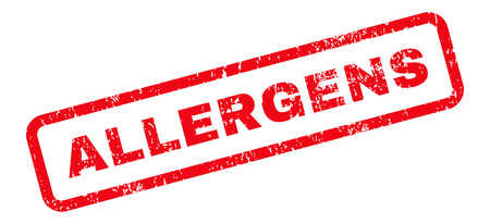alergenos: Allergens Text rubber seal stamp watermark. Tag inside rectangular shape with grunge design and scratched texture. Slanted glyph red ink sign on a white background. Foto de archivo