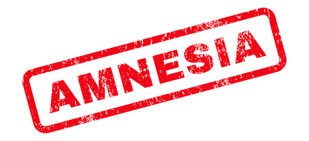 amnesia: Amnesia Text rubber seal stamp watermark. Tag inside rectangular banner with grunge design and scratched texture. Slanted glyph red ink sticker on a white background.