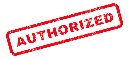 authorized: Authorized Text rubber seal stamp watermark. Caption inside rectangular shape with grunge design and dust texture. Slanted glyph red ink emblem on a white background.